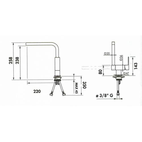 Mitigeur évier sous fenêtre - Bec basculant - RCS951/BB Rcs951 bb schéma