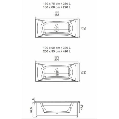 Baignoire balnéo Pure Design 170x75 - DETENTE - Tête à Droite Baignoire pure design double tête cotes kinedo