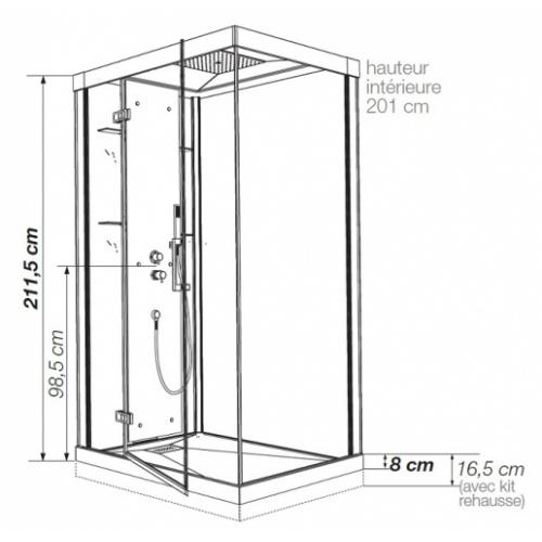Cabine de douche Kineform Thermostatique 100x80 - Coulissante - Acier Kineform120 thermostatique côtes