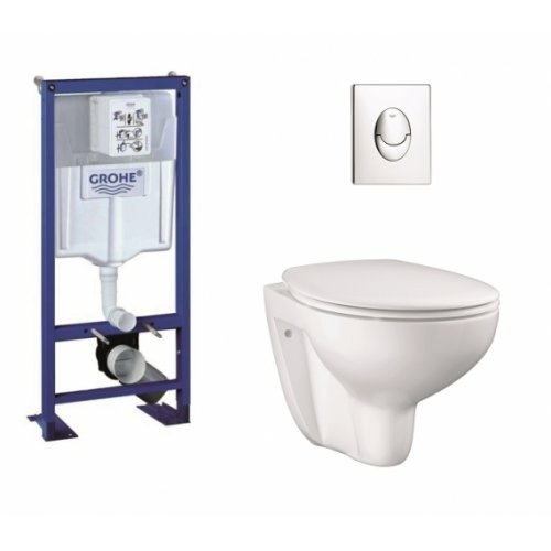 Pack Grohe Rapid SL + Cuvette GROHE sans bride Bau Ceramic + Plaque Chromée
