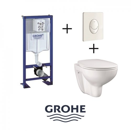 Pack WC Grohe Rapid SL + Cuvette GROHE sans bride Bau Ceramic + Plaque blanche Pack wc grohé +bau ceramic+pl blc
