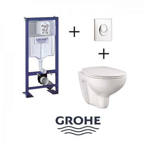 Pack Grohe Rapid SL + Cuvette GROHE sans bride Bau Ceramic + Plaque Chromée Pack wc grohé+bau ceramic+pl ch