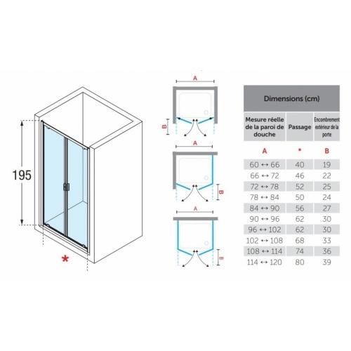 Paroi 2 portes battantes LUNES 2.0 B 65 cm - Transparent - Silver LUNES 2.0 B Dimensions et Schémas