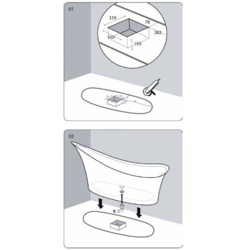 Baignoire ilôt Design CEDAM 180x75 Amon Installation amon