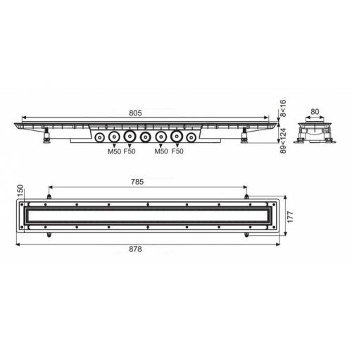 Caniveau de sol à carreler Venisio expert 800 mm - 30720765 Wirquin venisio expert schéma 800mm