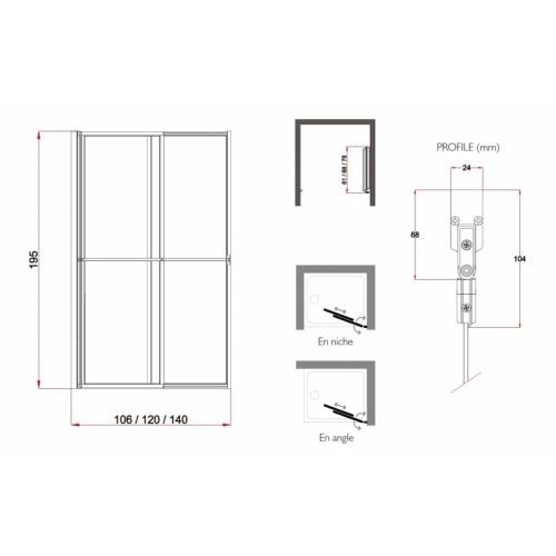 Porte coulissante et pivotante SECURE Noir mat - L120 cm Secure jacuzzi cotes