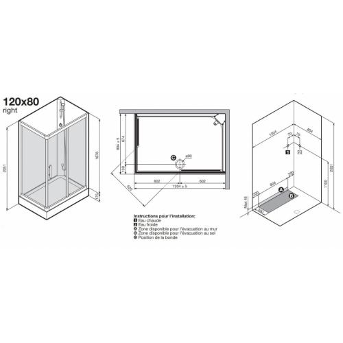 Cabine de douche CARAT 120x80 cm Thermostatique - Version Droite Carat 2p 120x80 cm schéma