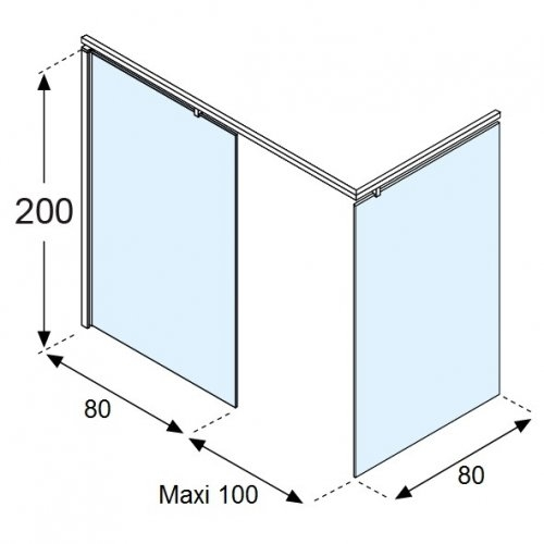 Paroi d'Angle KUADRA H Squares - Fixe de 80 + Retour de 80 cm Schéma kuadra h loft 80x80