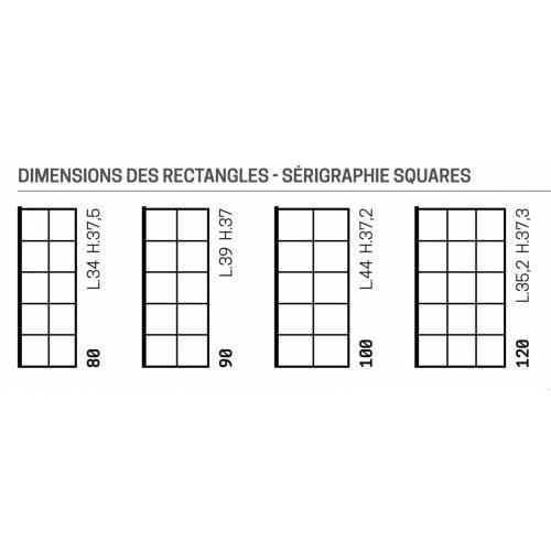 Paroi d'Angle KUADRA H Squares - Fixe de 80 + Retour de 80 cm Squares dimensions
