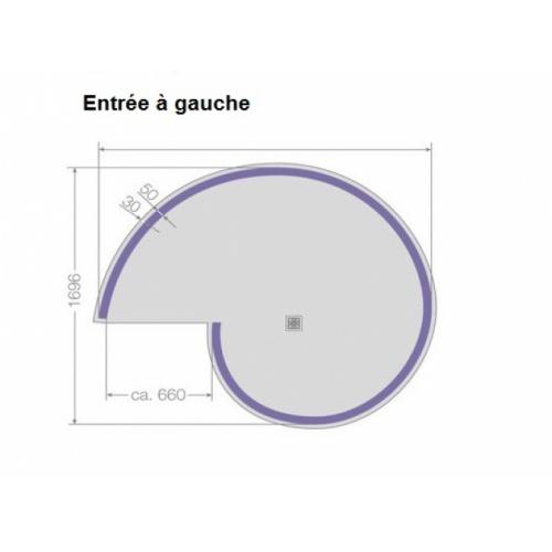 Douche Hélicoïdale à carreler - Entrée à Gauche - Siphon Horizontal Receveur aqua spiral jackon schéma gauche