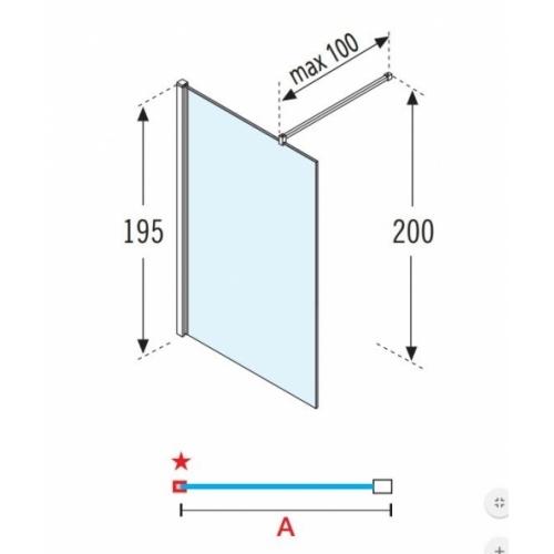 Paroi fixe GIADA H 60 cm - Transparent - Silver Giada h schéma
