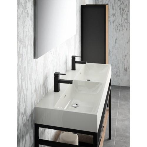 Meuble double-vasque STEEL 120 cm - Acier Noir + Hêtre Lamina Naturel Steel zoom double vasque