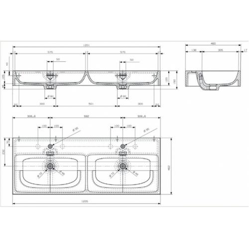 Meuble double-vasque STEEL 120 cm - Acier Noir + Hêtre Lamina Naturel Vasque steel seplan 120cm