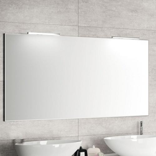Meuble double-vasque STEEL 120 cm - Acier Noir + Hêtre Lamina Naturel Miroir simple + 2 appliques