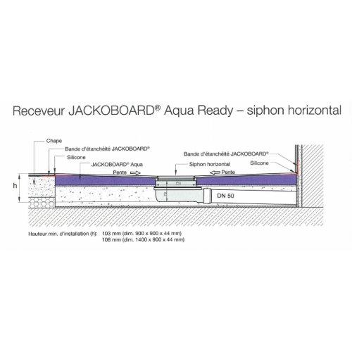 OLD - Receveur Carré Jackoboard Aqua Ready 90x90 cm - Siphon Horizontal Receveur jackoboard aqua ready siphon horizontal