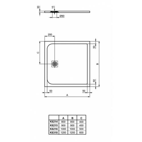 Receveur de douche Ultra Flat S - Gris Béton - 80x80 cm Idealstandard ultra flat s carré dimensions