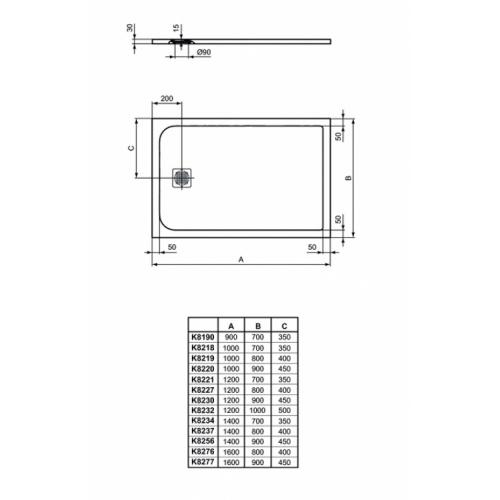 Receveur de douche Ultra Flat S - Beige Sable - 100x70 cm Idealstandard ultra flat s rectangulaire dimensions