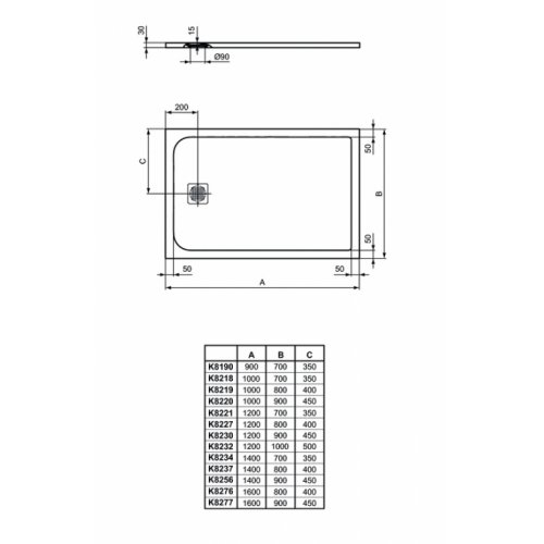 Receveur de douche Ultra Flat S - Noir Intense - 100x70 cm Idealstandard ultra flat s rectangulaire dimensions