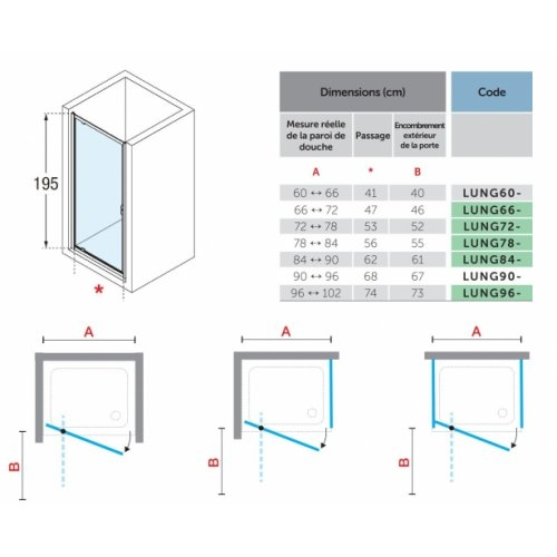 Porte de douche pivotante LUNES 2.0 G 65 cm - Transparent - Silver LUNES 2.0 G Dimensions