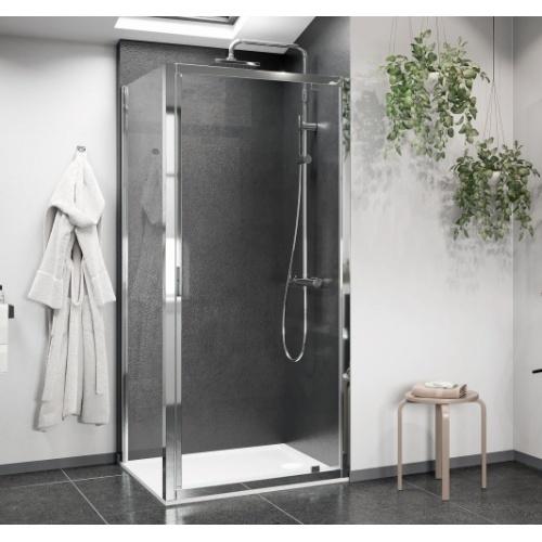 Porte de douche pivotante LUNES 2.0 G 65 cm - Transparent - Silver