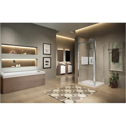 Porte de douche pivotante LUNES 2.0 G 65 cm - Transparent - Silver chr