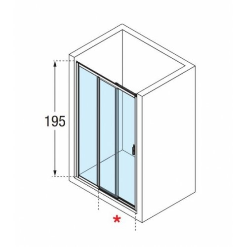 paroi de douche 2 portes coulissantes 1 fixe lunes 2 0. Black Bedroom Furniture Sets. Home Design Ideas
