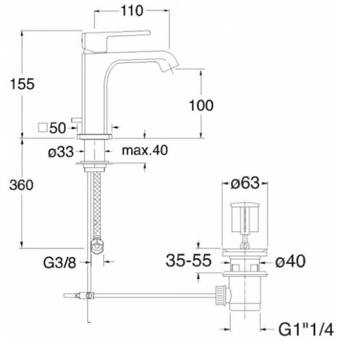 Mitigeur lavabo QUADRI S Chromé Noir - QS22172 - ONDYNA* Qs22172 schéma