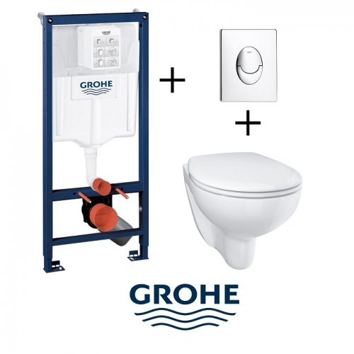 Pack Grohé Rapid SL Mural + Cuvette sans bride BAU CERAMIC + Plaque Chromée Brillante Pack wc grohe skateairchr bauceramic