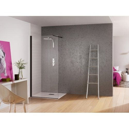 paroi de douche fixe kinespace solo noir 70 cm barre de renfort droite. Black Bedroom Furniture Sets. Home Design Ideas