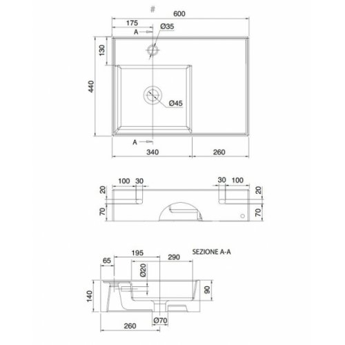 Vasque à poser ou suspendue TEOREMA 2.0 60 cm - Vasque à Gauche Teorema2 5114 schéma