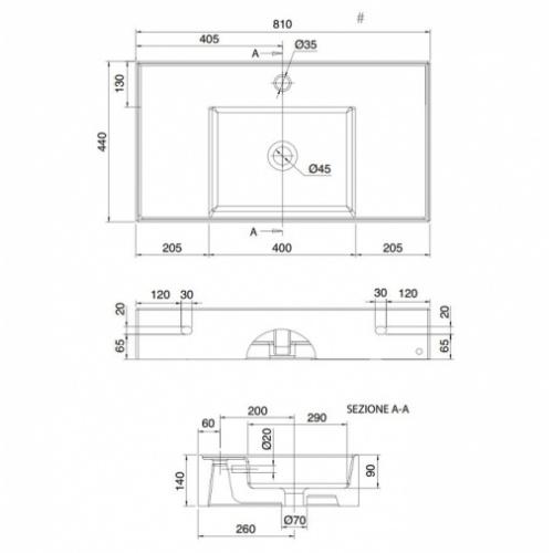Vasque à poser ou à suspendre TEOREMA 2.0 80 cm - Vasque centrée 0 5123 schéma