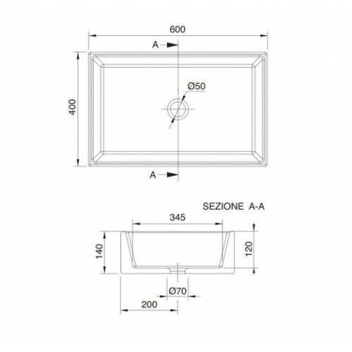 Vasque à poser TEOREMA 2.0 60 cm 0 5101 schéma