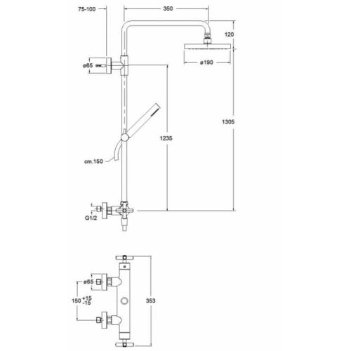 Colonne de douche thermostatique complète BLACKMAT Executive - ONDYNA Ev45713 schéma