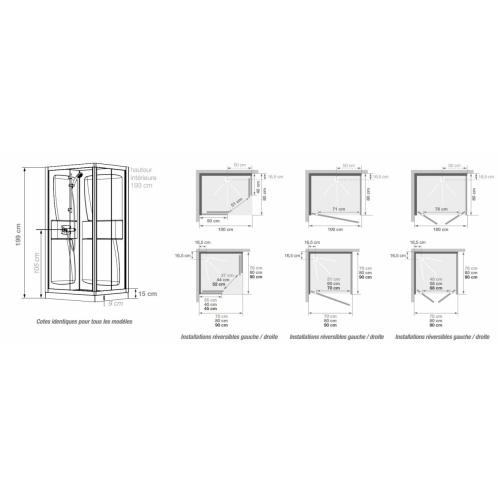 Cabine de douche Kineprime faible hauteur - Coulissante - 70x70cm Kineprime 9 cm Schéma