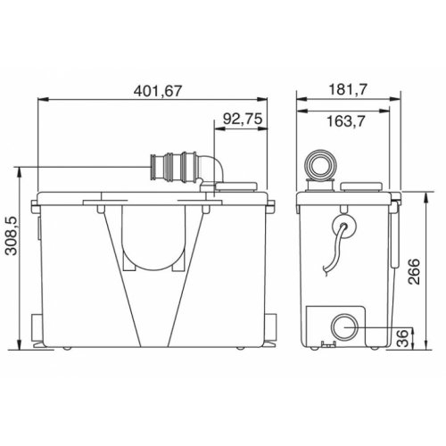 Pompe de relevage pour eaux usées domestiques - Concilio Pompe sfa schéma