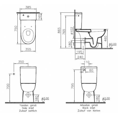 WC à poser PMR rehaussé Conforma sortie duale Pack conforma 9832b003 7200