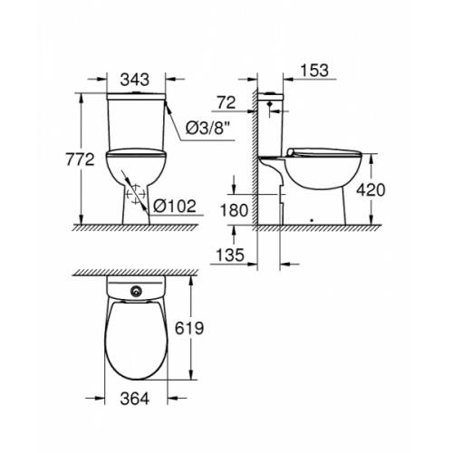 WC à poser GROHE Bau Ceramic sans bride - Abattant frein de chute Grohe 39496000 bau ceramic à poser schéma