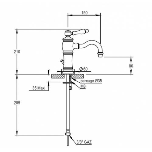 Mitigeur lavabo JULIA bec mobile - 01.708 NB 01 708 schéma