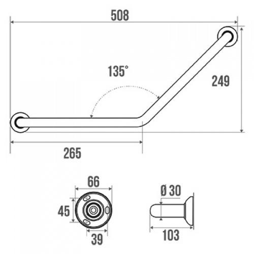 Barre d'appui coudée 135°SOFT, symétrique - Gris Barre soft coudée