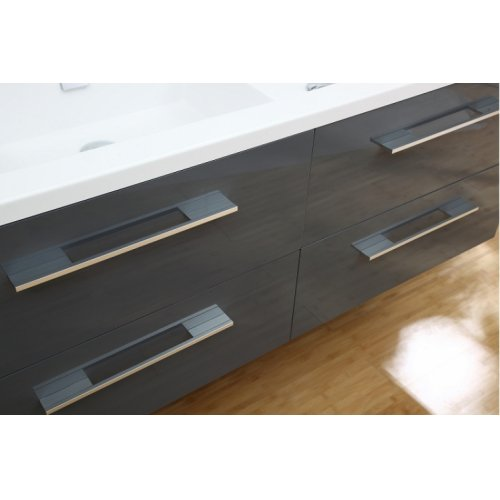 Meuble double vasque SATURN 140 cm Gris Brillant* Infinity neo gris macadam 140 (5)