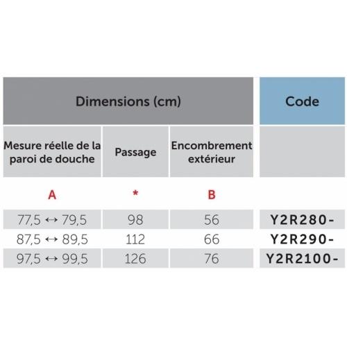 Paroi de douche 1/4 de rond YOUNG 2.0 R2 LUX - Transparent - Silver - 80x80 cm 0 r2 lux dimensions