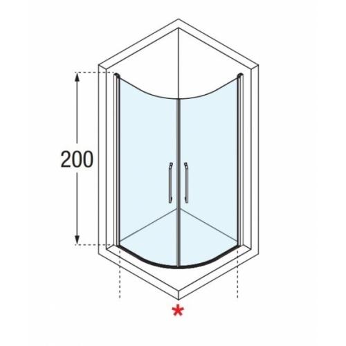Paroi de douche 1/4 de rond YOUNG 2.0 R2 LUX - Transparent - Silver - 80x80 cm 0 r2 lux schéma