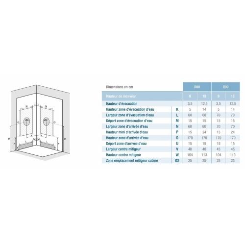 Cabine de douche Kineprime Glass faible hauteur - Coulissante - 1/4 de Rond 80cm Kineprime glass 1/4 rond Installation