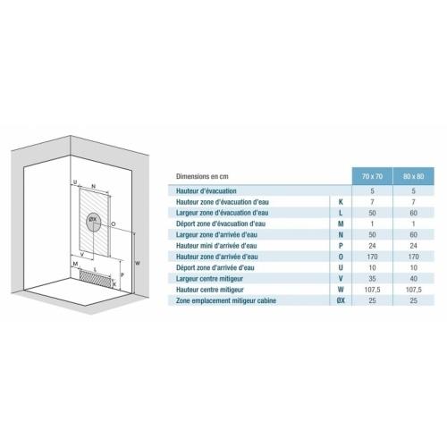Cabine de douche pour petits espaces DELTA 70x70 cm Evacuation delta