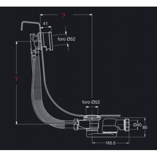 Vidage baignoires à câble avec remplissage cascade - 57 cm Ve65751 schéma