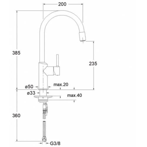 Mitigeur évier CUCINA aérateur amovible - CX50951 Cx50951 schéma