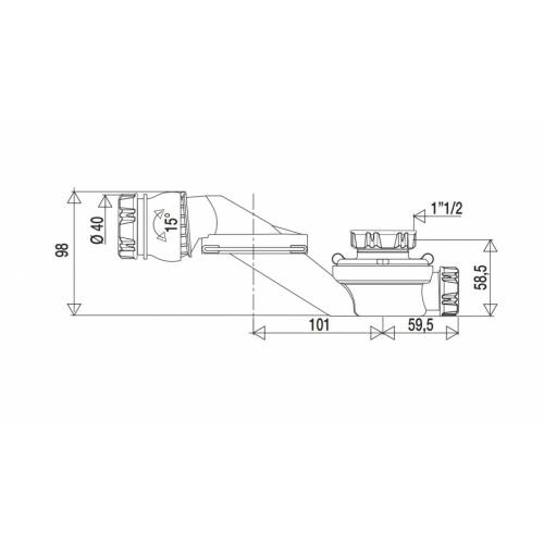 Siphon orientable extra-plat pour baignoire - 560000* 560000 Côtes