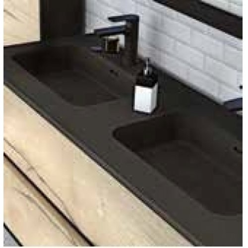 Meuble double vasque HARMONIE - Opale noire et Cottage Noyer Plan vasque en pierre noir