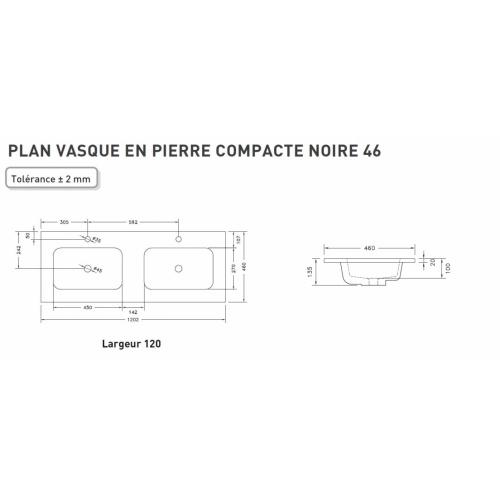 Meuble double vasque HARMONIE - Opale noire et Cottage Noyer Schéma technique PLan pierre compacte 120cm DV