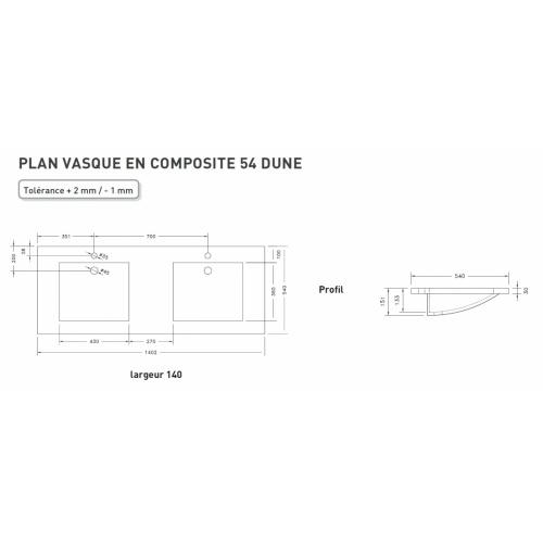 Meuble double vasque VOGUE/LOFT 140 Boréale Blanc DUNE 140 cm Schéma